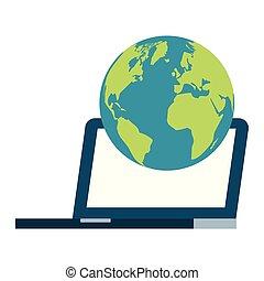Laptop Computer Welt auf weißem Hintergrund.