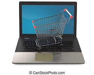 laptop, einkaufswagen
