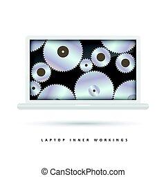 Laptop-Getriebeschirm.