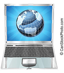 Laptop Globus-Konzept