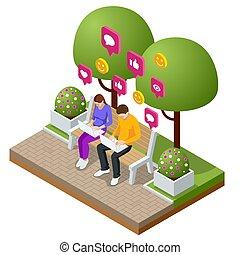 laptop., mann, bubbles., nachrichten, isometrisch, frau, wohnung, abbildung, chat., sms, leben, service, vektor, vortrag halten , nachricht, tippen, kurz