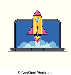 Laptop mit Rakete, die aus dem Schirm fliegt