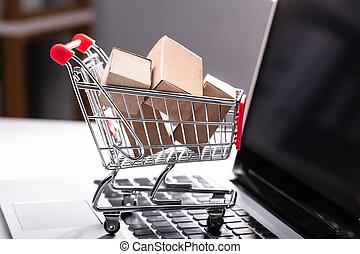laptop, pappe, shoppen, kästen, karren