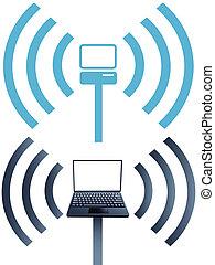 Laptop-Symbole, Wifi-Drahtlose-Computer-Netzwerk