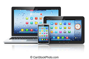 Laptop, Tablet PC und Smartphone