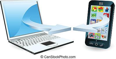 Laptop und Smartphone kommunizieren