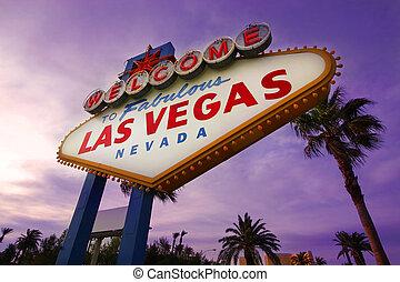 Las Vegas Willkommensschild bei Sonnenuntergang 1