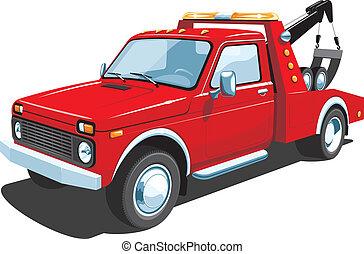 lastwagen, schleppen, rotes
