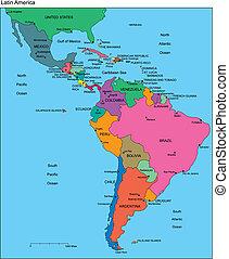 Lateinamerika Amerika mit redaktionellen Ländern, Namen