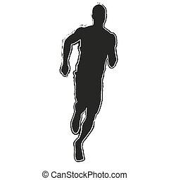 Lauf Silhouette. Laufender Mann