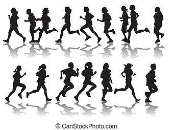 Laufende Frauen.