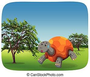 Laufende Schildkröte in der Naturszene.