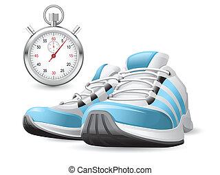 Laufende Schuhe und Stoppuhr