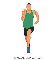 Laufender Mann in grünem Trikot, muskulöse Athleten-Frontaussicht. Abstract Vektorgrafik