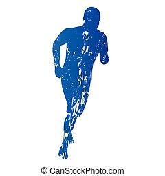 Laufender Mann, laufen, abstrakte grungy Vektorsilhouette.