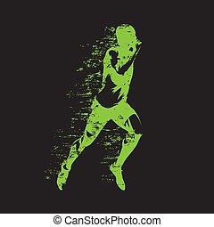 Laufender Mensch, abstrakt grüne Vektorgrafik. Lauf, sprintender Athlet