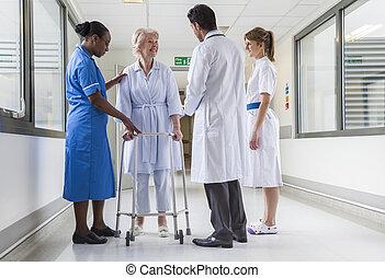 laufgestell, patient, doktor, klinikum, weibliche , krankenschwester, älter