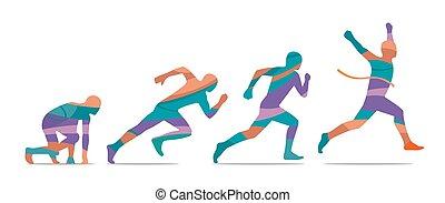 Laufschritt. Läufer von Anfang bis Ende. Seitenaussicht.