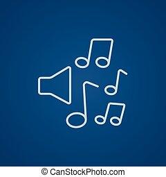 Lautsprecher mit Musiknoten-Symbol.