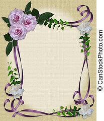 Lavender Roses Hochzeitseinladungs-Grenze