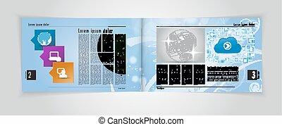 layout., vektor, zeitschrift