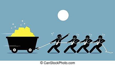 Leader arbeitet mit Mitarbeitern und Arbeitnehmern zusammen, um mit Ermutigung und Hilfe hart zu arbeiten.