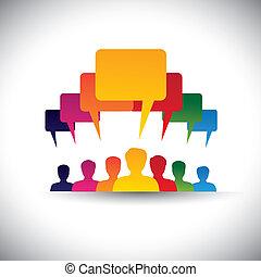 Leader & Leader Konzept der Motivation von Menschen - Vektorgrafik. Diese Grafik repräsentiert auch soziale Medienkommunikation, Vorstandssitzungen, Studentenunion, die Stimme der Menschen, Mitarbeitertreffen usw