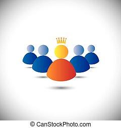 Leader mit Krone und Führung, Team & Teamwork Konzept Vektor i