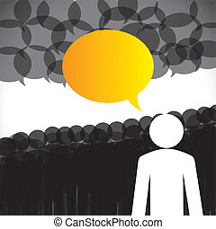 Leadership Concept Vektor - Leadership & Followers Diskussion
