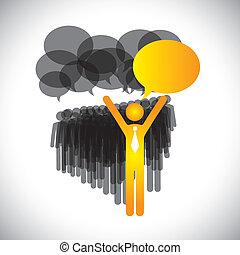 Leadership Concept Vektor - Manager & Mitarbeiter Diskussion