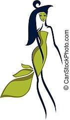 Leaffrau, Vektor oder Farbdarstellung.