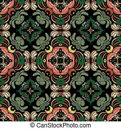 leaves., fabric., pattern., carpet., barock, grunge, blumen-, seamless, vektor, ornaments., farbenfreudige blumen, endlos, damast, beschaffenheit, stickerei, tapisserie, bestickt, textured, wallpaper., hintergrund.
