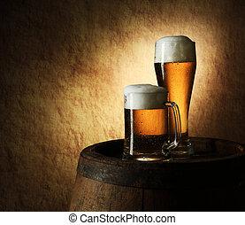 leben, altes , stein, bier faß, noch