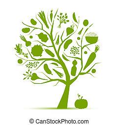 leben, gesunde, baum, gemuese, -, grün, design, dein