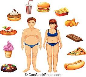 lebensmittel, übergewichtige , ungesund, leute