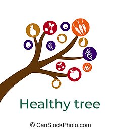 lebensmittel, dein, design, skizze, gesunde, baum