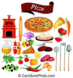 Lebensmittel und Gewürzzutat für Pizza.