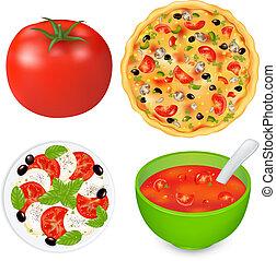 Lebensmittelgerichte mit Tomaten