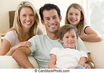 lebensunterhalt, lächeln, zimmer, familie, sitzen