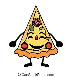 Lecker Pizza kawaii Charakter.