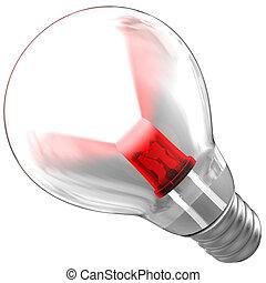 LED sendet einen Lichtstrahl in einer Birne aus