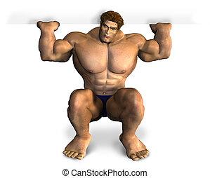 leer, bodybuilder, rand, heben, zeichen