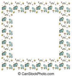 leer, vlinders, rahmen, dinosaurier, abstrakt, weißes, stegosaurus, skandinavisch, brontosaurus, freigestellt, regenbogen, border., vector., quadrat, reizend, baby, girly, lächeln, hintergrund., sommer, blumen, kindisch