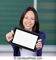 leer, zeigen, weiblicher student, tablet-pc
