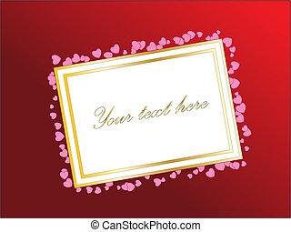 Leere Karte für deine SMS oder Design mit Herzen. Roter Hintergrund. Valentinstags-Vektor-Thema.