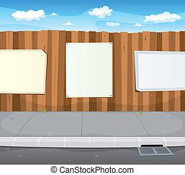 Leere Schilder am städtischen Holzzaun