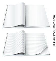 Leere Seiten im Magazin mit eingewickelter Ecke