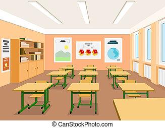 leerer , abbildung, vektor, klassenzimmer