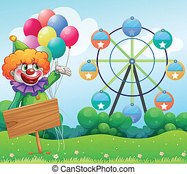 leerer , luftballone, zurück, clown, brett