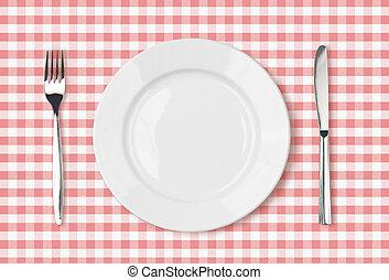 Leeres Abendessen Top-View auf rosa Picknick-Tisch Tuch.